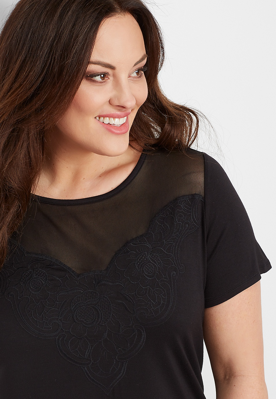 9702a7ec plus size black mesh yoke tee | maurices
