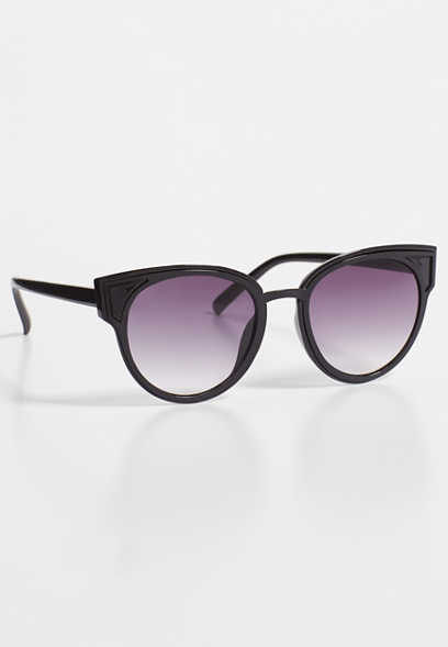 Heritage solid black cat eye sunglasses