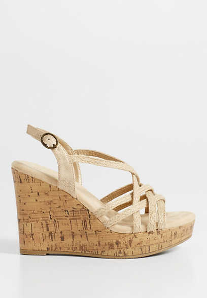Jamie jute criss cross wedge