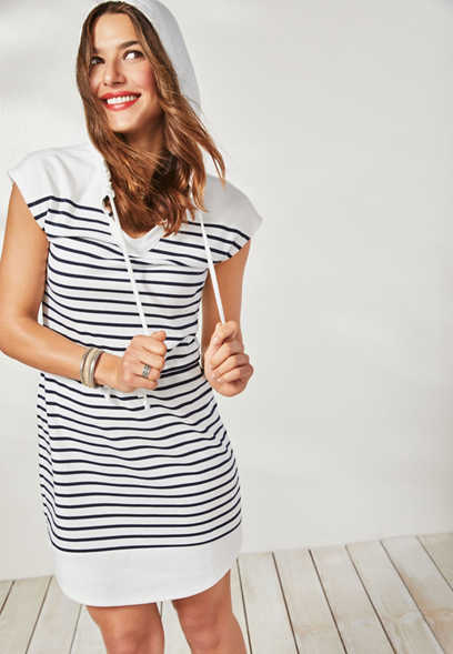 24/7 hooded stripe shirtdress