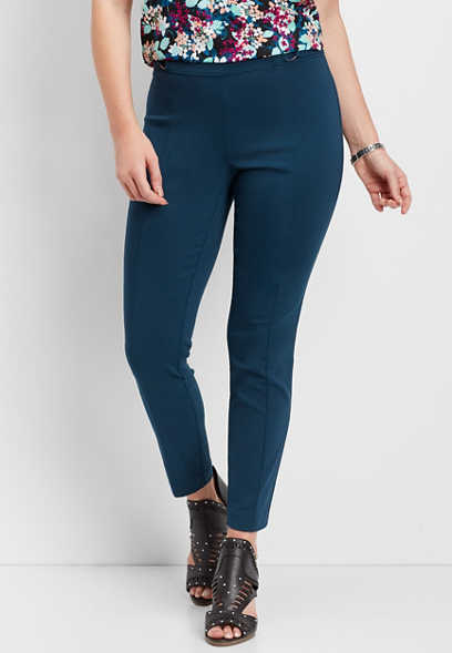 pull on teal d-ring skinny ankle pant