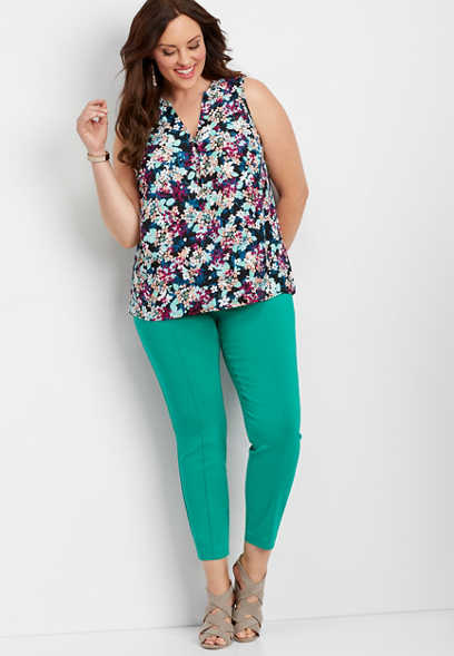 plus size pull on green d-ring skinny ankle pant