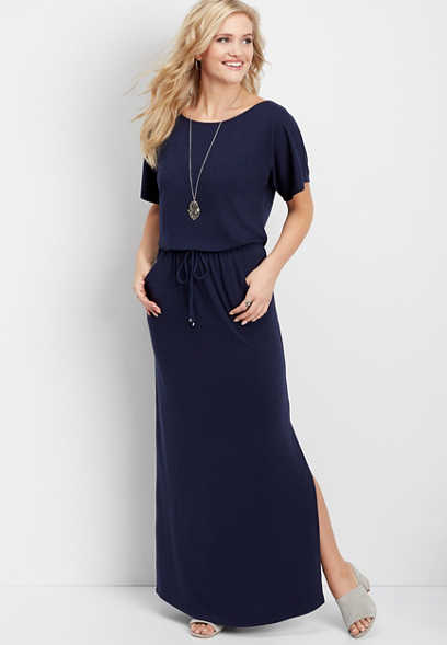 solid pocket maxi dress