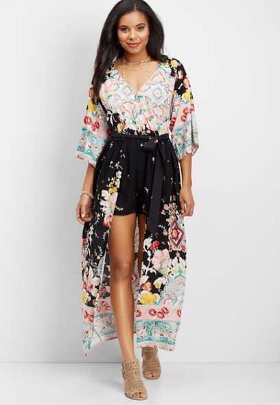 Love, Fire kimono walk through maxi dress