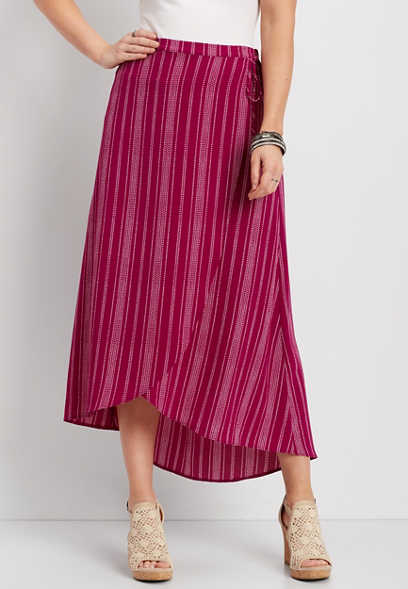 stripe wrap tulip skirt