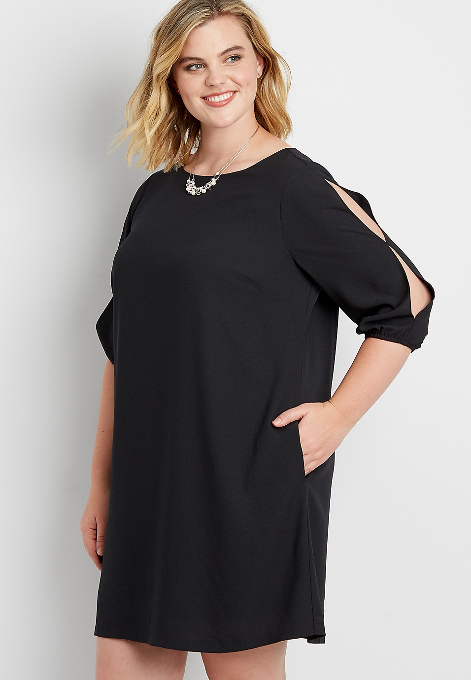 plus size shift dress with slit sleeves