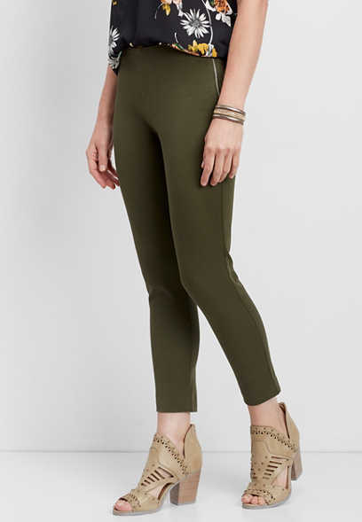 bi-stretch side zip crop pant