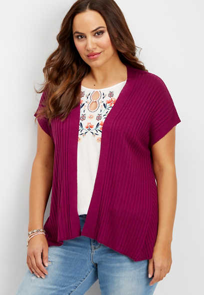 plus size short sleeved ribbed cardigan