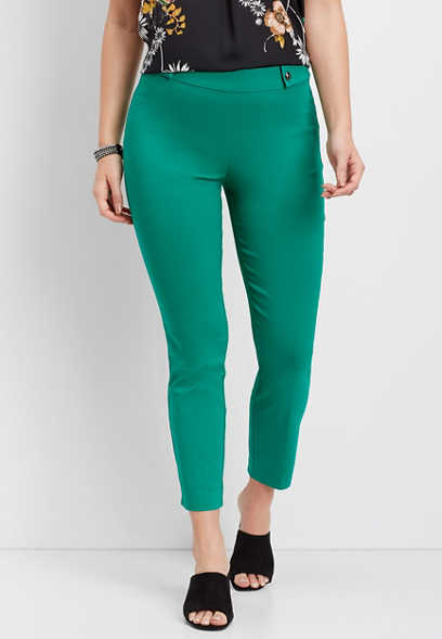 notch hem skinny ankle pant