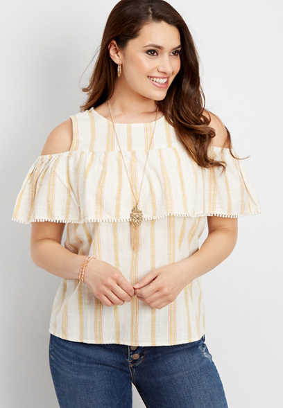 yellow stripe cold shoulder blouse