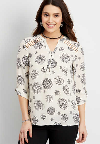 the perfect blouse in medallion print with zipper and lace shoulders