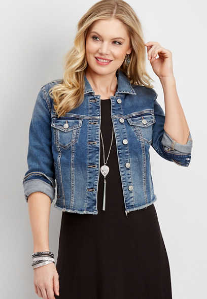 medium wash frayed denim jacket