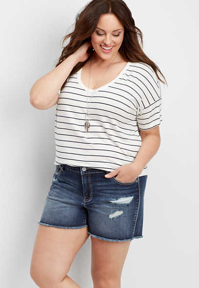 plus size DenimFlex™ destructed fray short