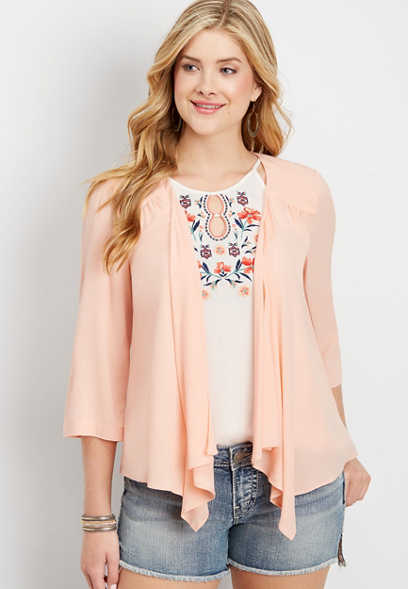 open front shirred blazer