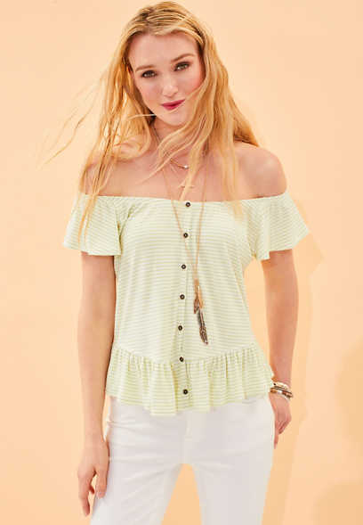 ruffled button down front striped tee