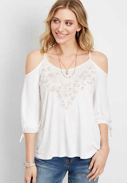 floral cold shoulder tee
