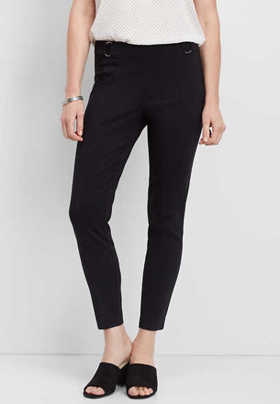 pull on d-ring skinny ankle pant
