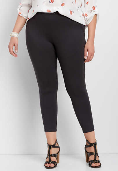 plus size pull on gray ponte crop pant