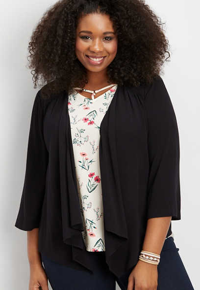 plus size open front shirred blazer