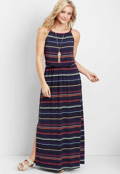 striped high neck maxi dress