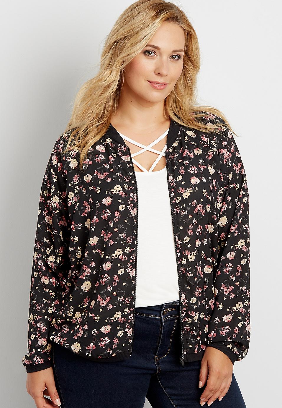 4a20e5060da40 plus size floral print chiffon bomber jacket