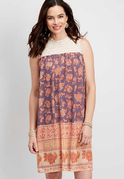 crocheted yoke placement print dress