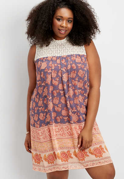 plus size crocheted yoke placement print dress