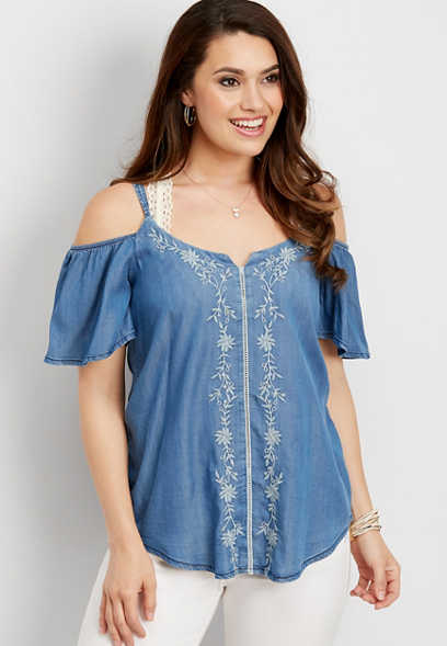 denim embroidered cold shoulder blouse
