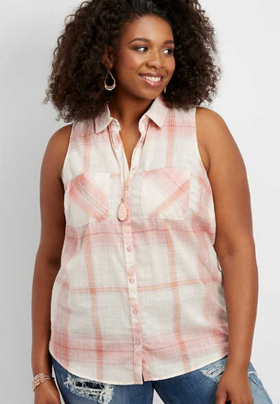 plus size plaid button down tank