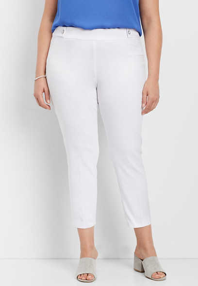 plus size white bengaline skinny ankle pant