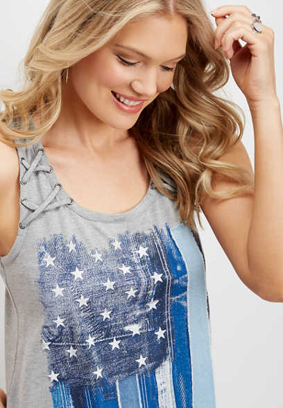 denim flag lace up graphic tank