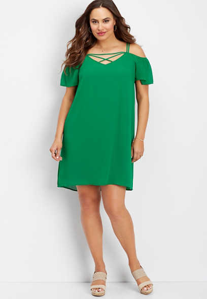 plus size ruffled off the shoulder dress