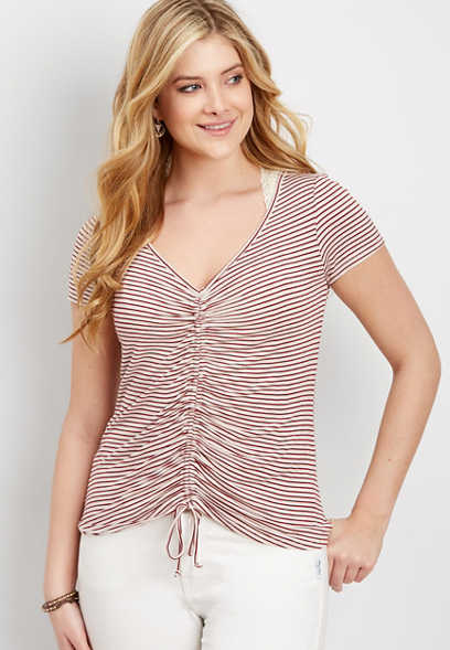 cinched striped tee