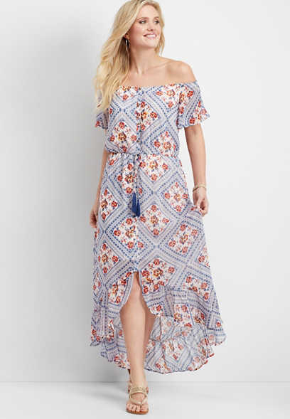 off the shoulder bandana print maxi dress