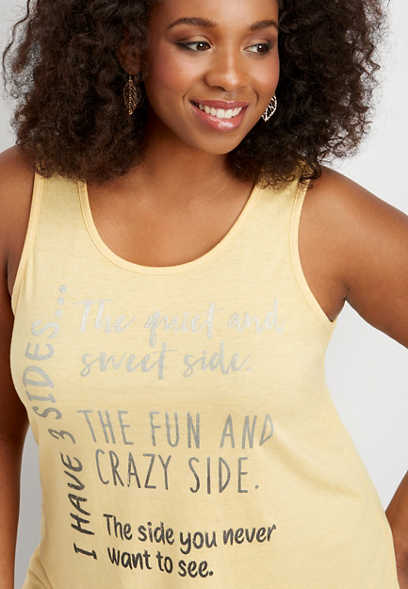 plus size I have 3 sides graphic tank