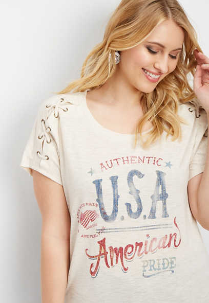 plus size American Pride graphic tee