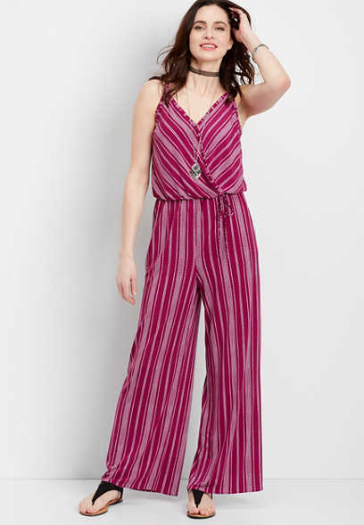 sleeveless stripe wrap jumpsuit