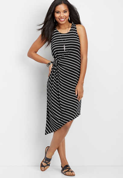 24/7 twist side striped asymmetrical dress