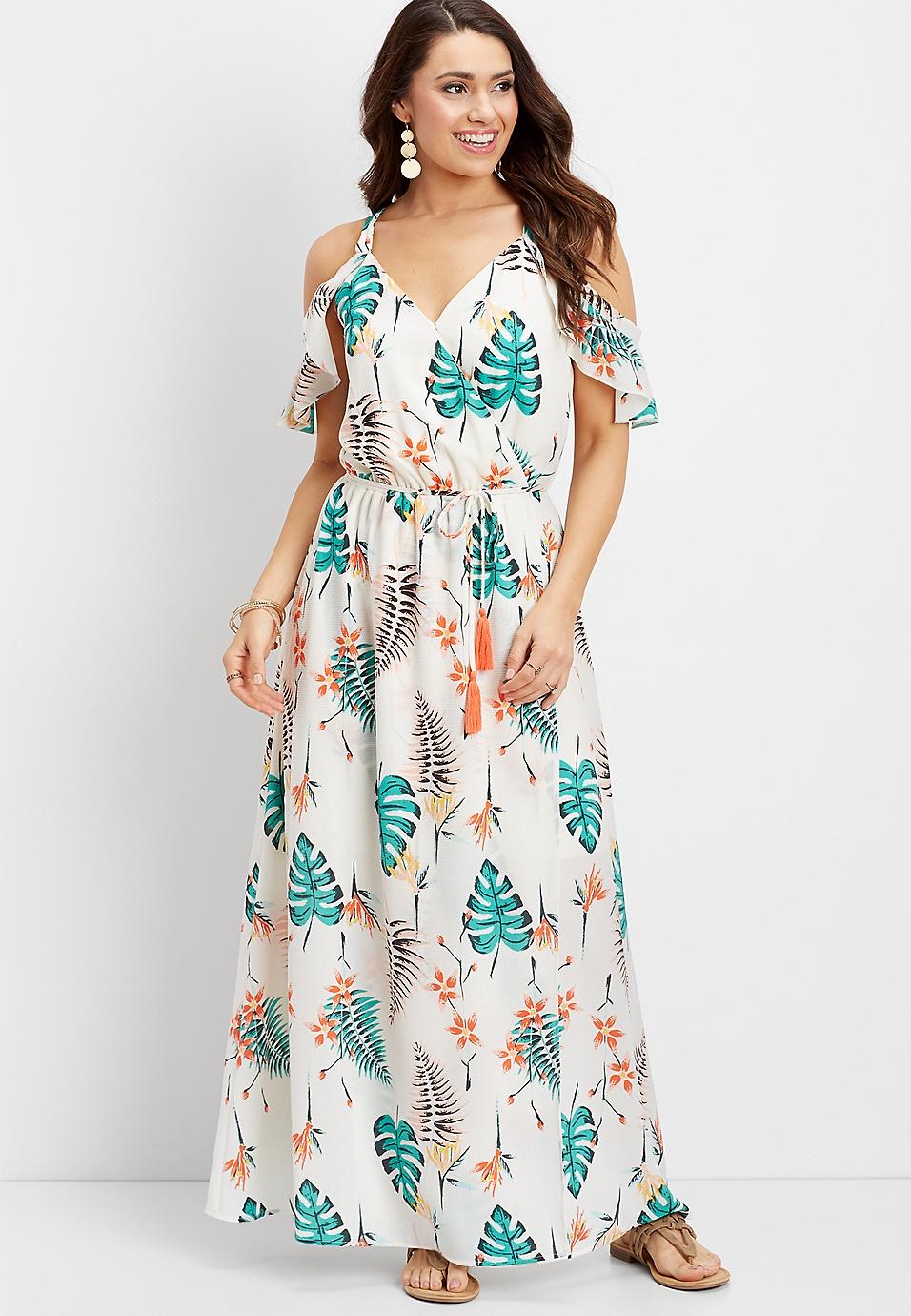 3be41eb660a9 ruffled wrap palm print maxi dress | maurices