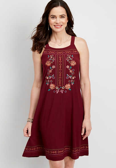 floral embroidered tank dress