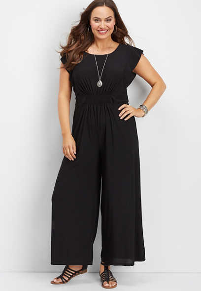 plus size ruffled sleeve solid jumpsuit