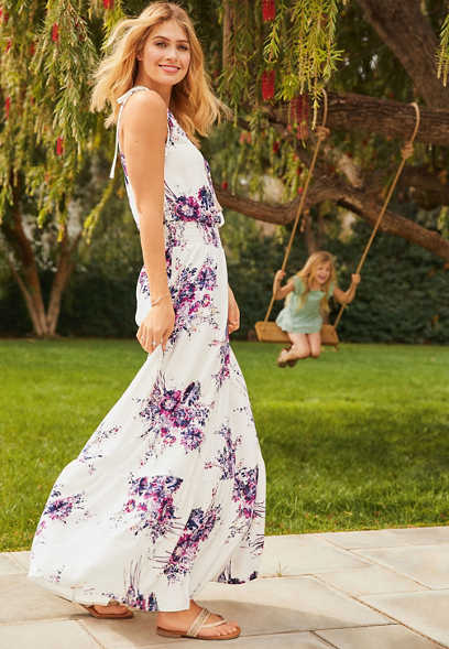 smocked waist floral maxi dress