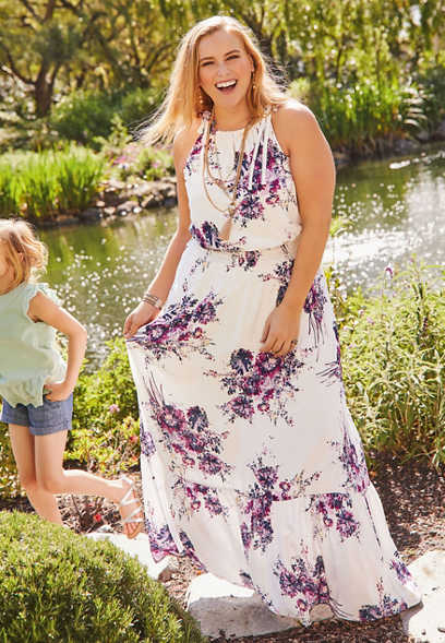 plus size smock waist floral maxi dress