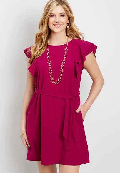 ruffled sleeve tie waist dress