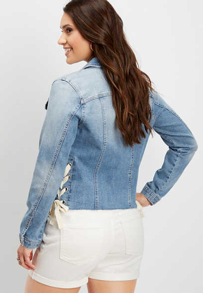 medium wash lace up denim jacket