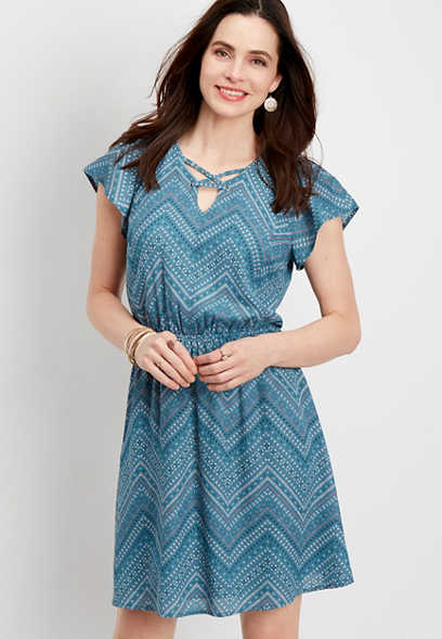 flutter sleeve chevron dress