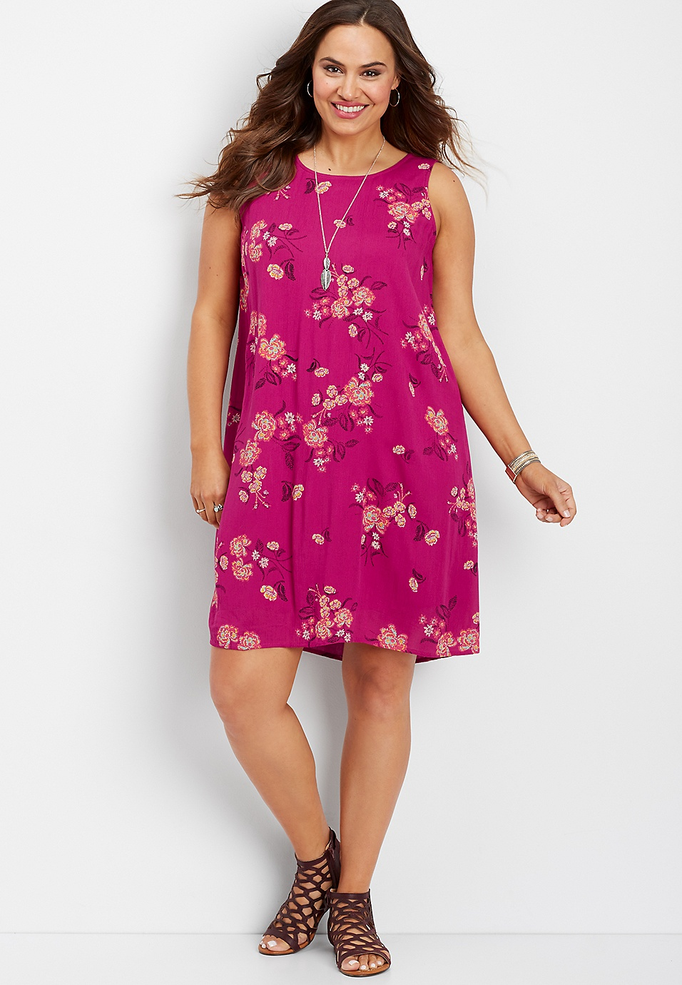 plus size tropical floral tank dress | maurices