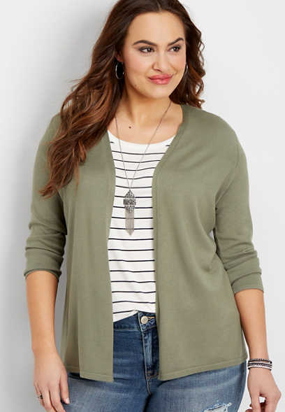 plus size ribbed back cardigan
