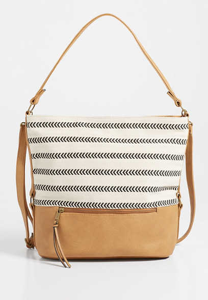 stripe cross body tote