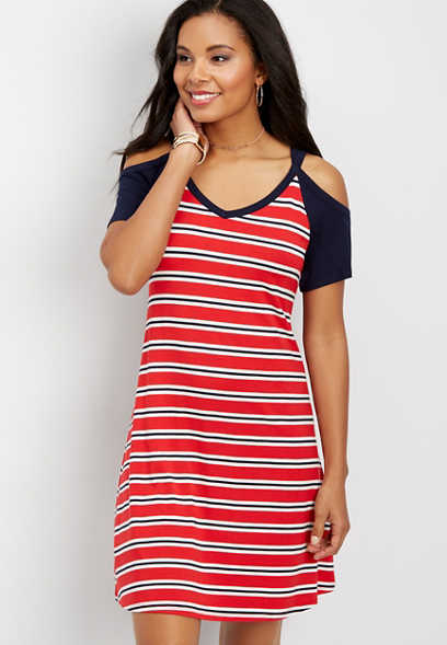 24/7 cold shoulder baseball dress